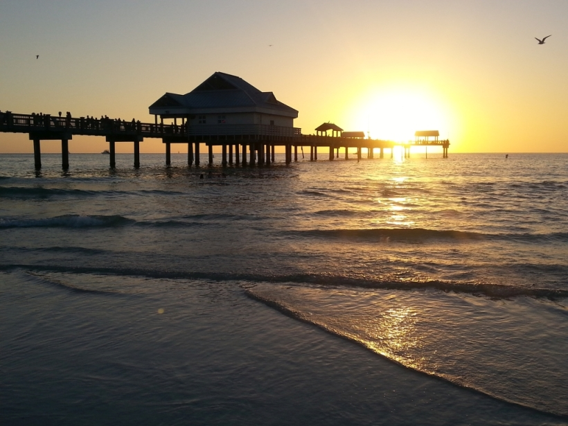 Sunset at Clearwater Beach, at the Gulf of Mexico