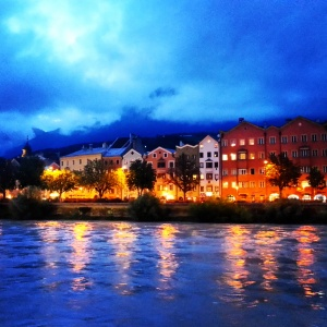 Innsbruck's colorful houses at night