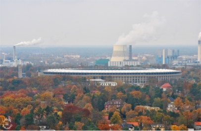 Olympiastadion and Neu Westend in autumn colors